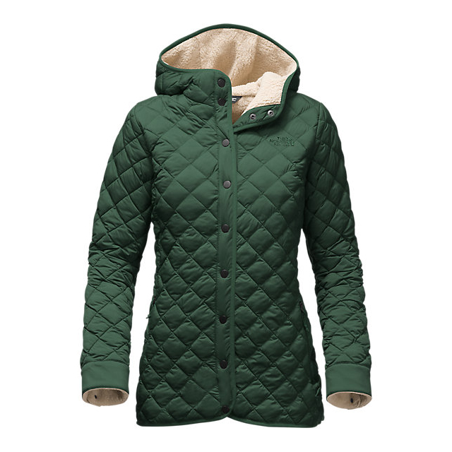 CHEAP NORTH FACE WOMEN'S THERMOBALL  FUR HOODIE DARKEST SPRUCE ONLINE